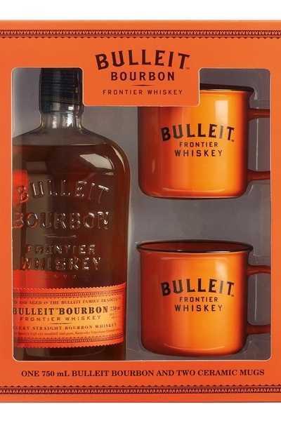 Bulleit-Bourbon-Whiskey-Bottle-with-Two-Branded-Ceramic-Mugs